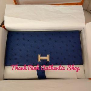 3a2045ade3f94 Hermes ostrich Bearn wallet , NWT, fullset